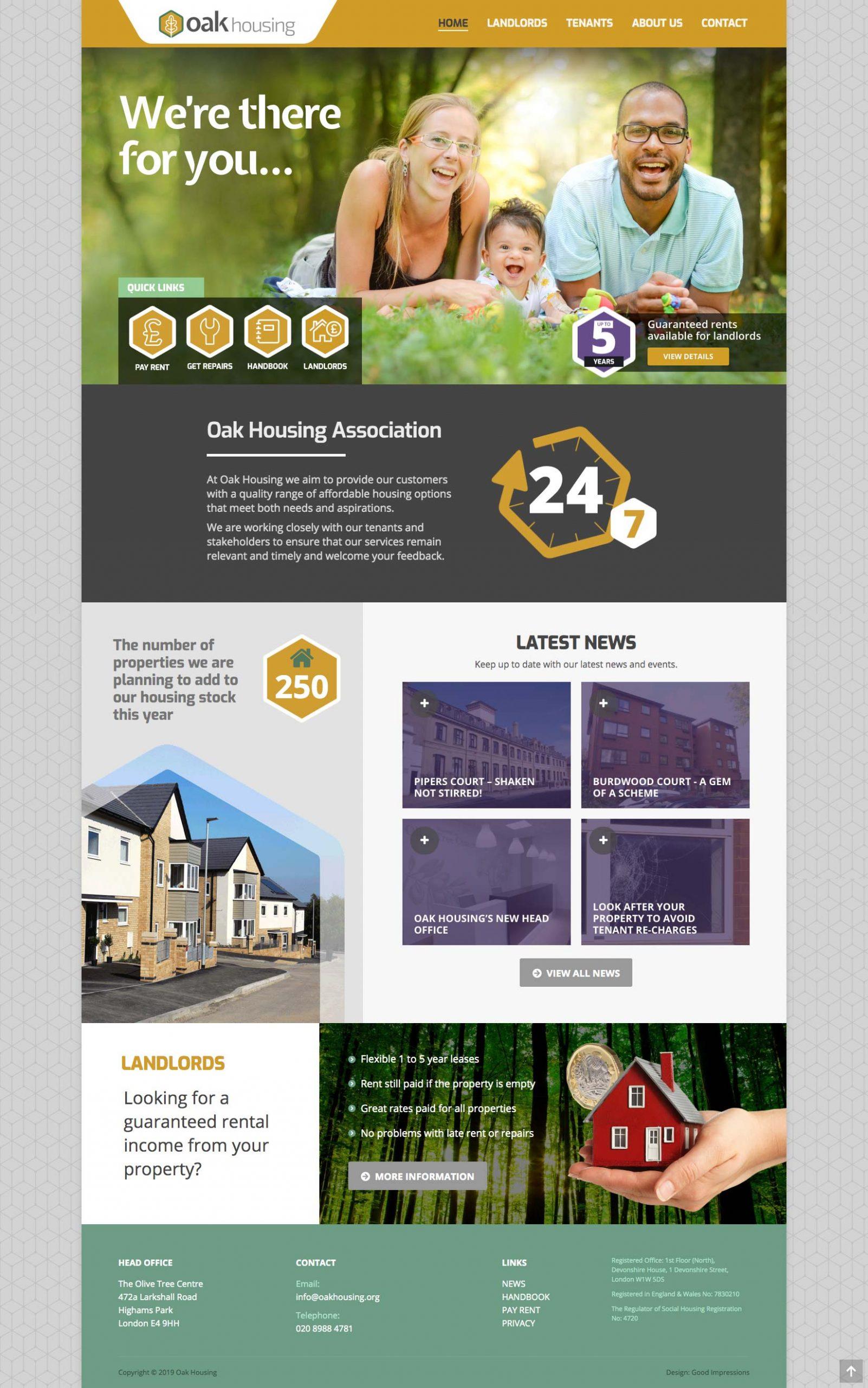 Oak Housing website home page
