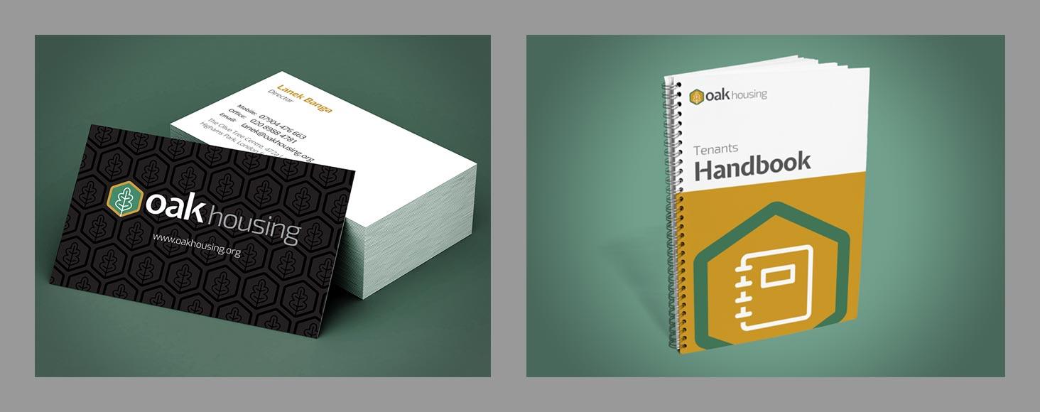 Oak Housing business card and handbook
