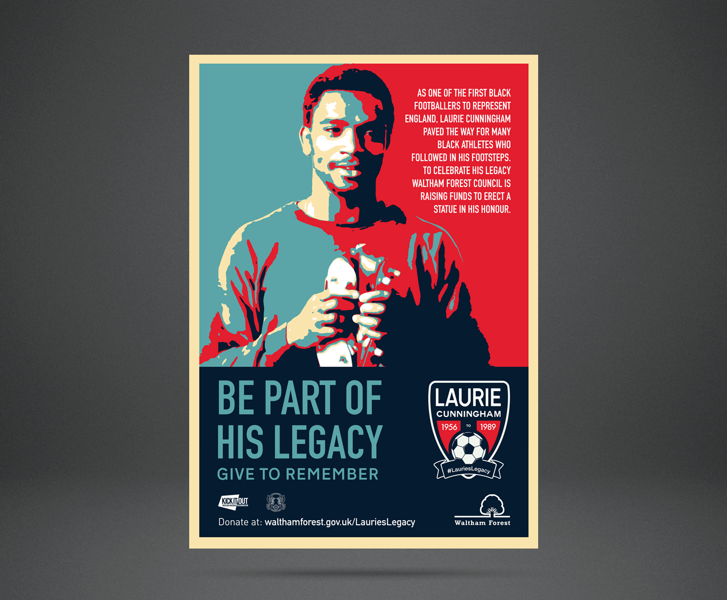 Poster for the Laurie Cunningham statue campaign